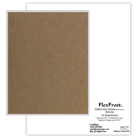 FlexFrost® Shimmer Edible Fabric Sheets - Bronze Shimmer