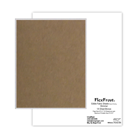 FlexFrost® Shimmer Edible Fabric Sheets - Bronze Shimmer
