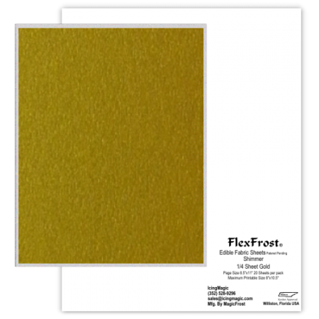 FlexFrost® Edible Fabric Sheets - Gold Shimmer