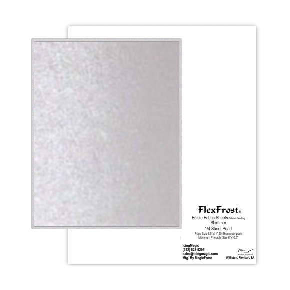 FlexFrost® Shimmer Edible Fabric Sheets - Pearl Shimmer