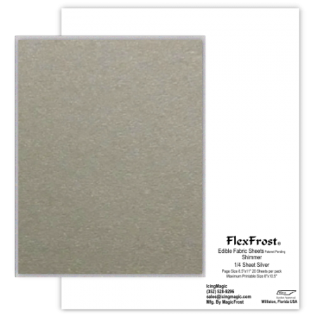 FlexFrost® Edible Fabric Sheets - Silver Shimmer