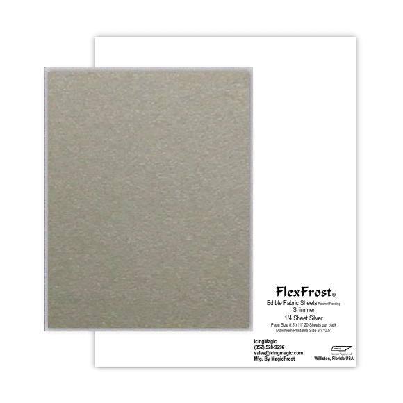 FlexFrost® Shimmer Edible Fabric Sheets - Silver Shimmer