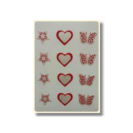 Ultimate Edible Designs - Stars, Hearts and Butterflies - Red and Pearl