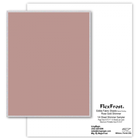FlexFrost® Shimmer Edible Fabric Sheets - Rose Gold Shimmer