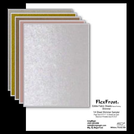 FlexFrost® Shimmer Edible Fabric Sheets - Shimmer Sampler